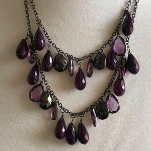 Jewelry - Double Strand Purple Teardrop Necklace